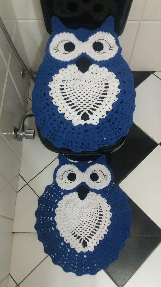 Jogo de banheiro corujinha feliz azul royal e branco...thathy conquistas