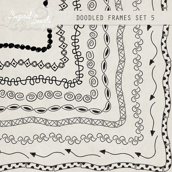 Doodled Frames 5 - 8.5 x 11 - Digital Clipart for card making, scrapbooking, invitations, printed products, commercial use