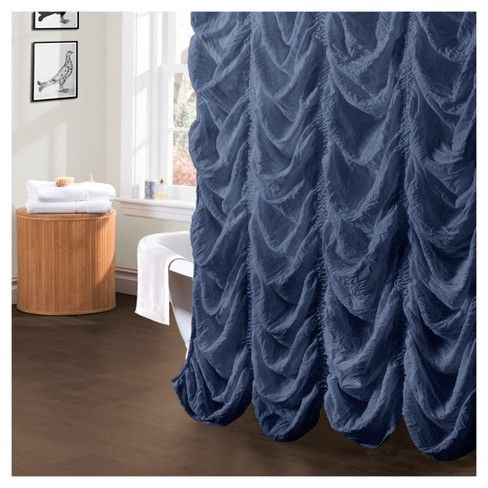Madelynn Jean Ruffle Shower Curtain Lush Decor Adult Unisex Blue Ruffle Shower Curtains Fabric Shower Curtains Curtains