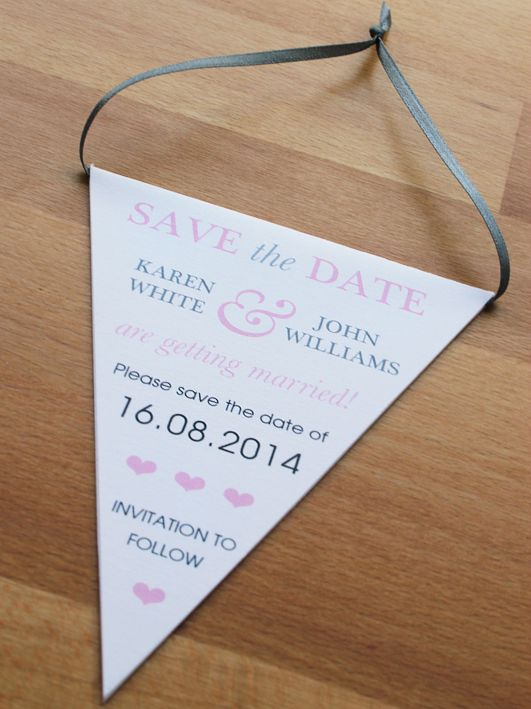 Bunting Save the Date in white, pink and grey.