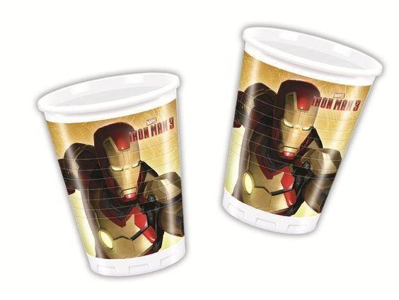 Iron Man 3 8 Plastic Cups - 200Ml (Party/Decoration/Birthday)
