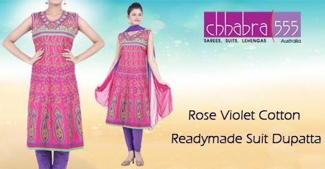 Addition of over 25 new designs every day, select Rose Violet Cotton Readymade Suit Dupatta in @ $49.95 AUD from Chhabra555 that will give you stunning look in any occassion in Australia.