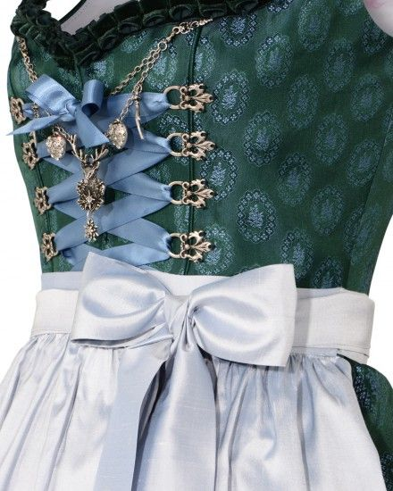 Silk & Pearls Dirndl short with apron | LODENFREY