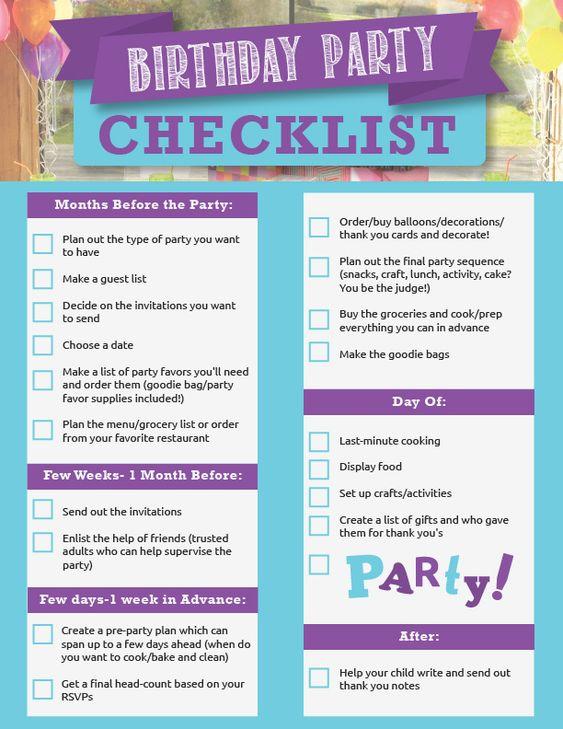 Verteilzeit Berechnen Checkliste Geburtstagsparty