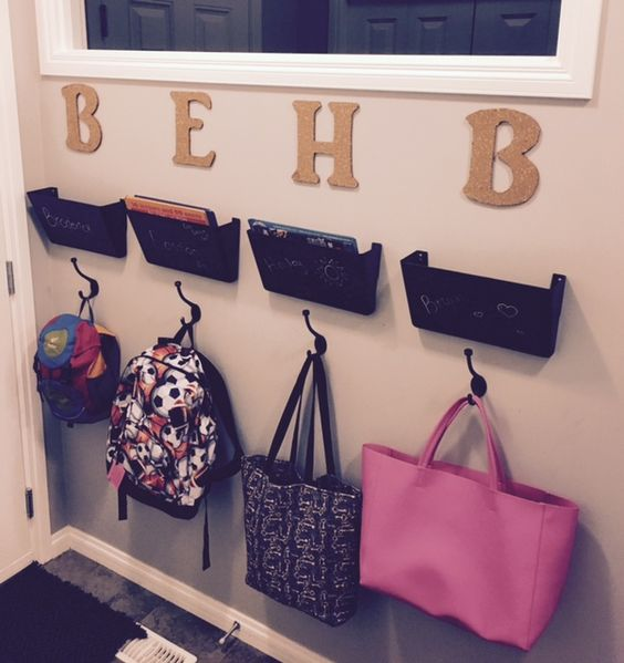 Cute and functional backpack station! Cork letters, chalk painted wall files and backpack hooks!