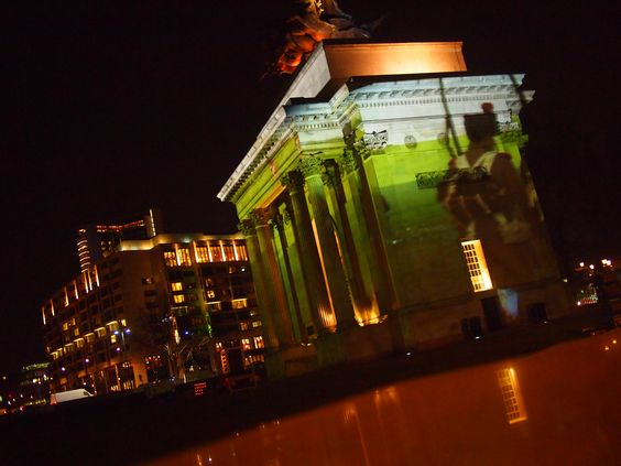 Wellington Arch with Waterloo projection for one night only during an event organized by the Belgian Tourism Office Brussels and Wallonia