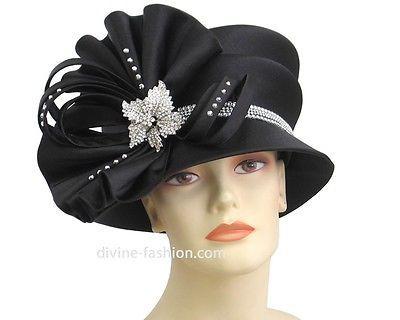 Black Satin Bling Church Hats