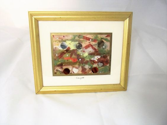 Fiber Art modern paper collage Framed Gold by ASharpContrast