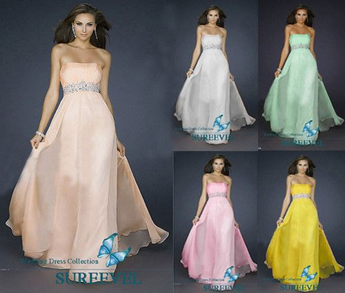 Simple Strapless Long Evening Dress Wedding Bridesmaid Party Dress Prom Gown | eBay