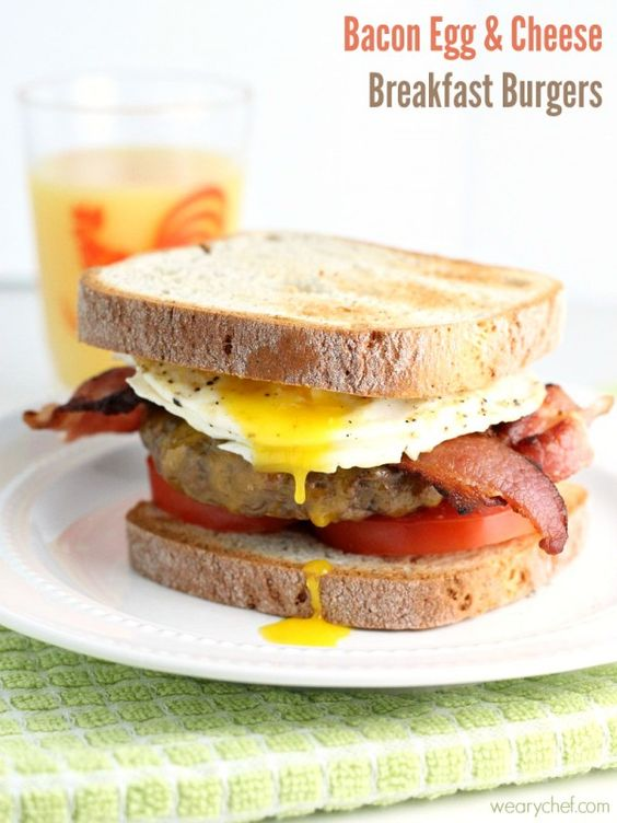 Bacon Egg and Cheese Breakfast Burger - would be perfect on Udi's GF Millet Chia bread!