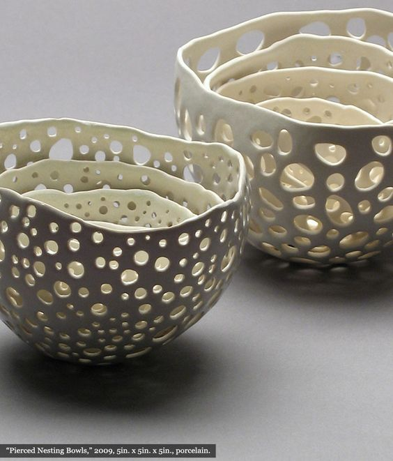 Can you imagine how much fun it would be to create holes in your pinch pots?  Add a candle = beautiful art.  Artist: Kate Tremel