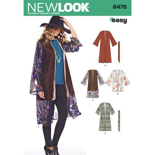 New Look Pattern 6476 Misses' Easy Kimono with Length and Sleeve Variations