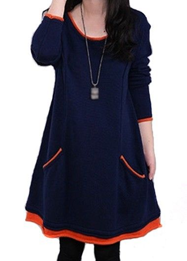 Navy Blue Long Sleeve Swing Tunic Dress For Fall Winter