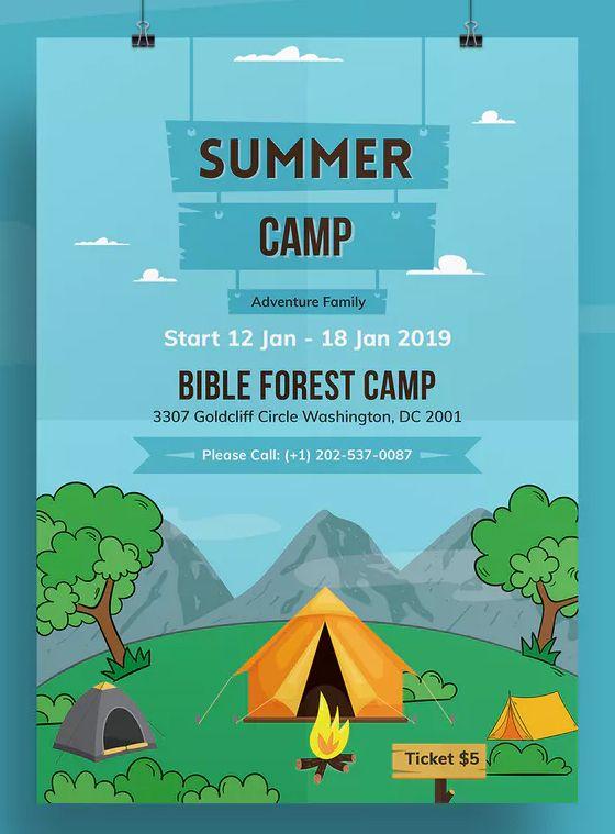 Summer Camp Flyer Template Psd Desain Banner Brosur Desain
