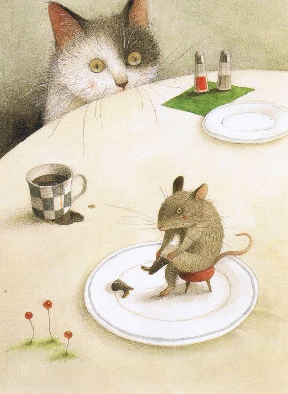 """Ilustración del libro """" El gato con botas """" por Ayano Imai ( 1980 ). Para saber mucho más sobre bienestar y salud infantil visita www.solerplanet.com"""