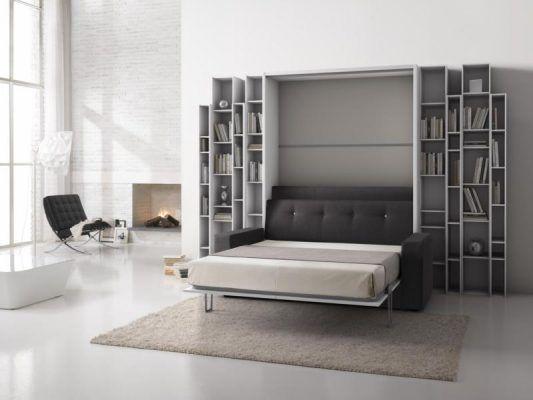 Letto a scomparsa con divano, divano letto, con librerie in ...