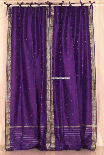 Purple Tie Top / Ribbon Top Purple Silk Sari fabric Drapes, Panels ...