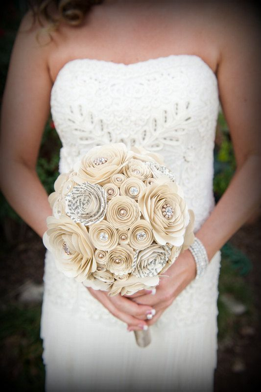 Romantic Pearls and Crystals Custom Paper Flower Wedding Bouquet. $105.00, via Etsy.