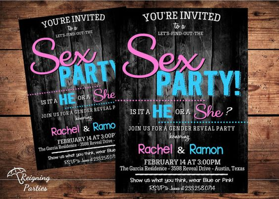 sex party gender reveal invitation