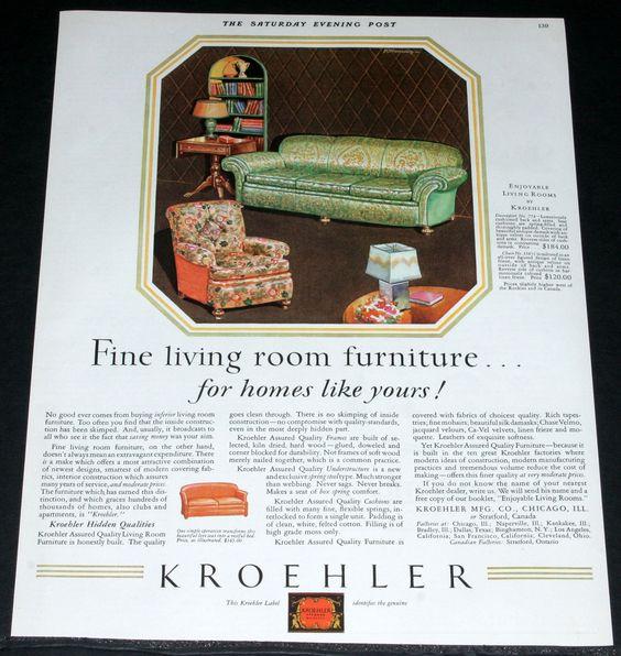Details About 1929 Old Magazine Print Ad, Kroehler Fine Living
