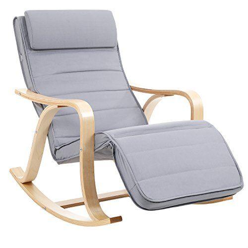 Songmics Rocking Chair Fauteuil A Bascule Avec Repose Pied Reglable 5 Niveaux Charge Max 150 Kg Gris Clair Lyy41g Fauteuil A Bascule Fauteuil Chaise Bercante