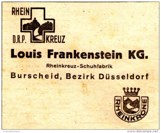 Original-Werbung/ Anzeige 1948 - RHEINKREUZ SCHUHFABRIK FRANKENSTEIN / BURSCHEID / RHEINKRONE - ca. 80 x 60 mm