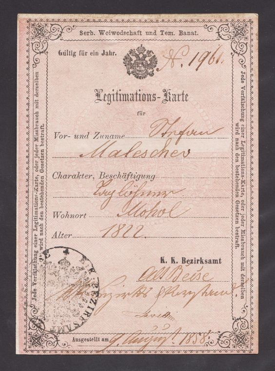 AUSTRIA HUNGARY 157 years old ID CARD issued in STARI BECEJ on - id card