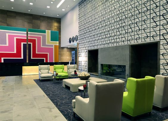 Large geometric art for hotel lobby