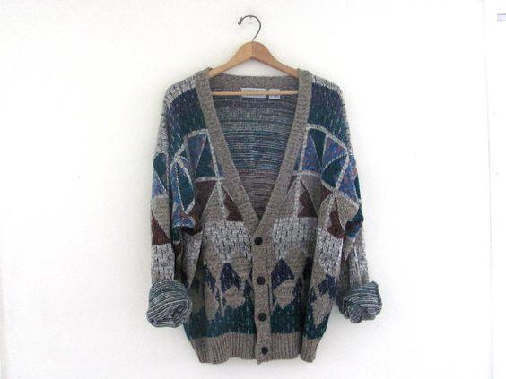 vintage 80s geometric cardigan sweater. by dirtybirdiesvintage, $26.00
