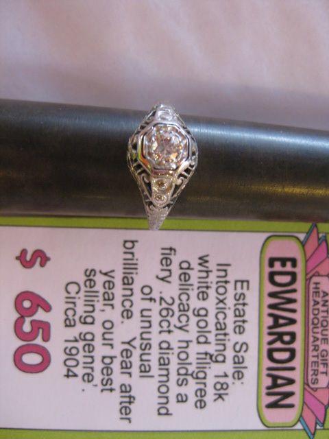 Stunning Edwardian Filigree Ring. #1904  #1904 #antiquesatpikeplace #pikeplacemarketseattle #Edwardian