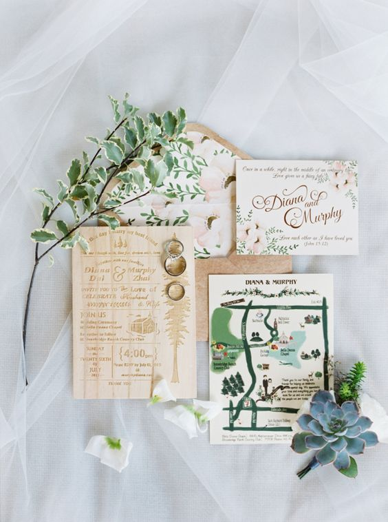 whimsically illustrated wedding invitations | image via: style me pretty