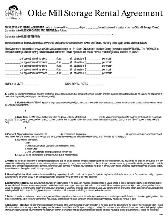 Rent to Own Storage Building Contracts Olde Mill Storage Rental - business rental agreement template