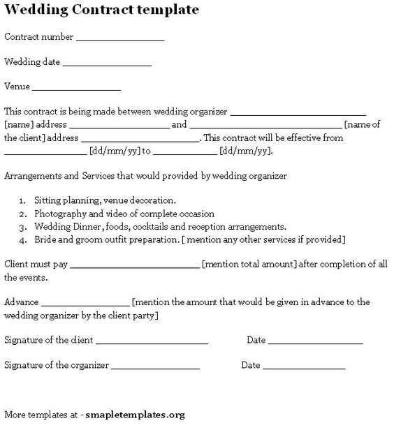 Wedding Contract Template Sample Templates Pinterest – Wedding Planning Contract Templates