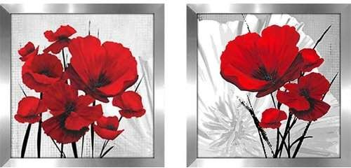 Big Red Poppies 2 Piece Picture Frame Print Set On Paper Poppy Wall Art Floral Wall Art Red Poppies