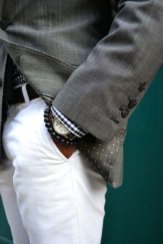 White Pants + Dark Gray Checker Shirt