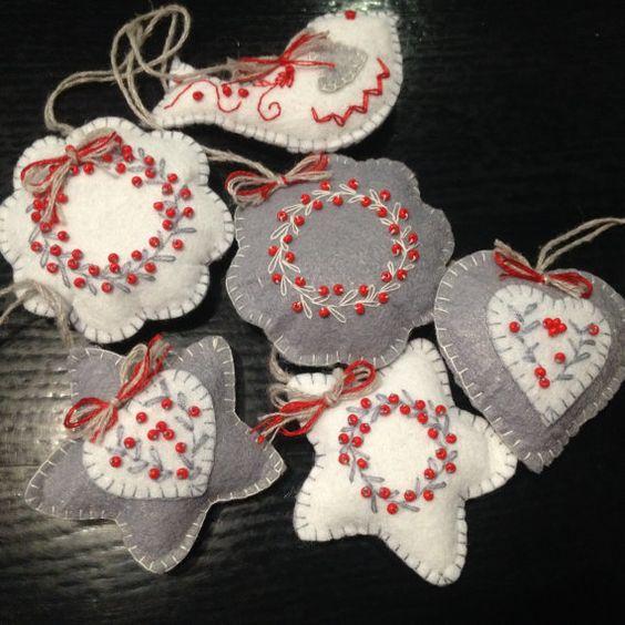 6 Christmas Ornaments Part - 40: Set Of 6 Christmas Ornaments, Felt Ornaments, Gray And White Ornaments,  Christmas Wreath Star Bird Heart