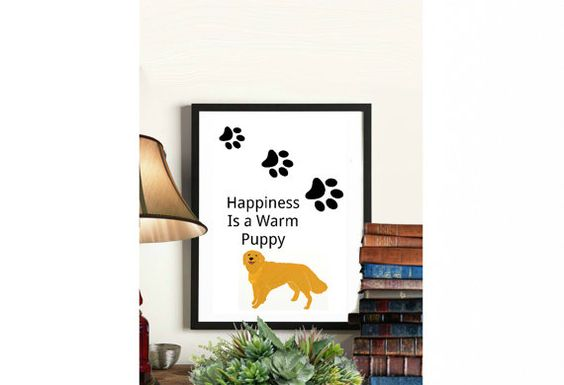 Happiness is a warm puppy Christmas whimsical Wall by ElsaBellART
