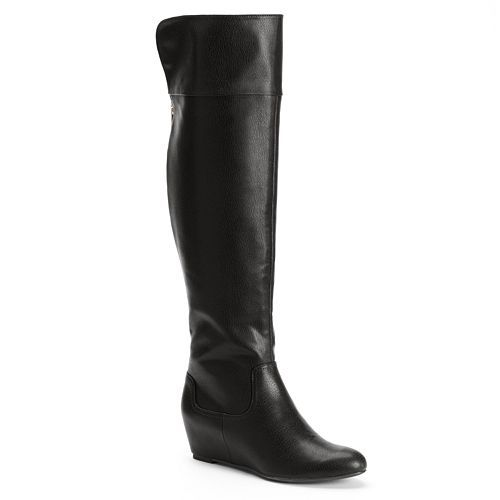 Jennifer Lopez Hidden Wedge Over-the-Knee Boots - Women's | Let's ...