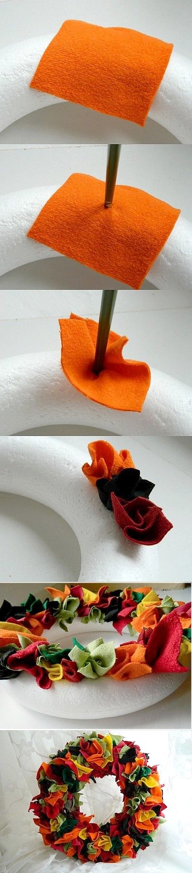 Make an Autumn Wreath out of Fabric  Scraps.... this one is felt.  Would be so cool with various shades of one color! (ie: green, pink, etc etc)