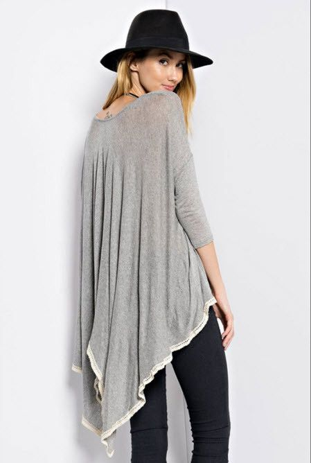 Ladies Sheer Knit Shark Bite Tunic With Crochet High Low