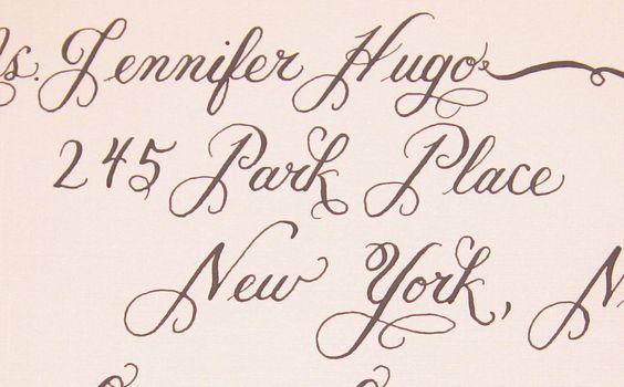 Wedding Calligraphy - Fiona Script Hand Lettering Envelope Addressing.