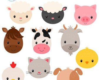 Farm Animal Faces Clipart Farm Animals Clip Art Nursery Clip Etsy Baby Farm Animals Animal Clipart Animal Faces