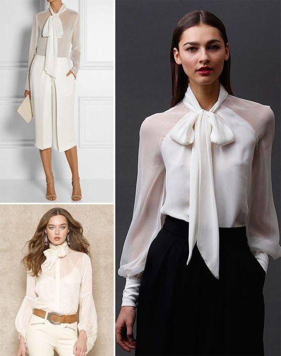 Белые блузки с бантом в моде