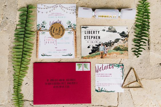 Liberty and Stephen's colorful organic Texas wedding combines so many elements that we just love – greenery, watercolor and a whimsical airy feel that completely inspires. Photos by the oh so talented Feather and Twine. #invitation #featherandtwine #wedding #bridesofaustin