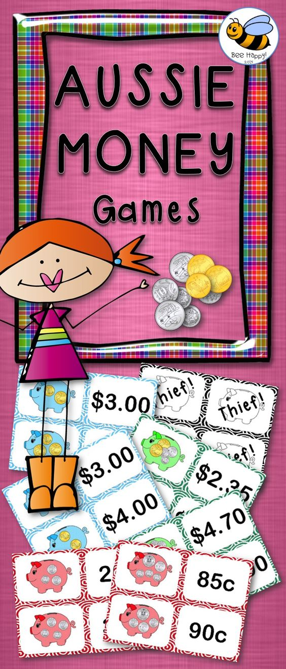 5 exciting games that require minimal preparation – just print, cut and laminate (if desired). A bank of coins, dice and counters are also needed for two of the games. Concentration, Moneybags, Thief! Go Fish and Spiral. A great package to supplement any Australian Money program!
