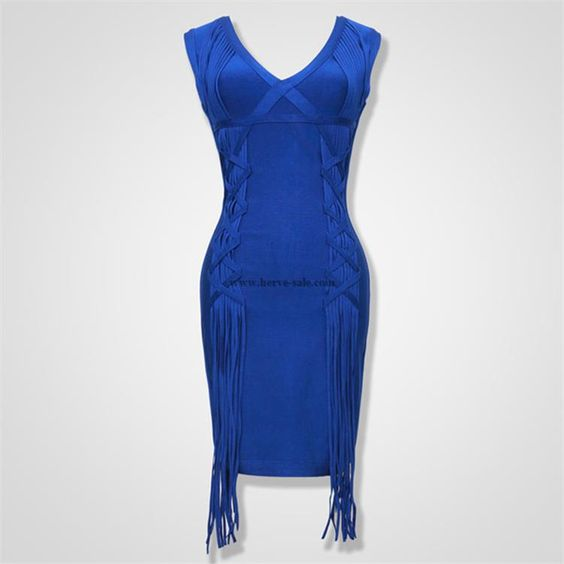 Herve Leger Blau V-Ausschnitt Streifen-Verband-Kleid HF673BL