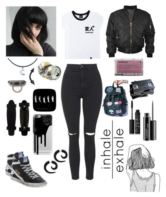 """^^WEIRDO^^"" by clo-ver ❤ liked on Polyvore featuring Golden Goose, Illustrated People, Korres, Peek, Topshop, Disturbia, Casetify, NARS Cosmetics and MAC Cosmetics"