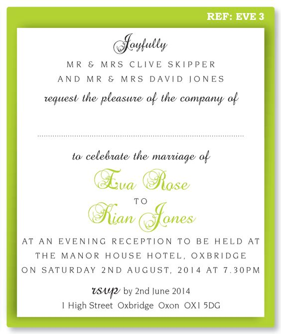 wording for wedding invites evening - Google Search
