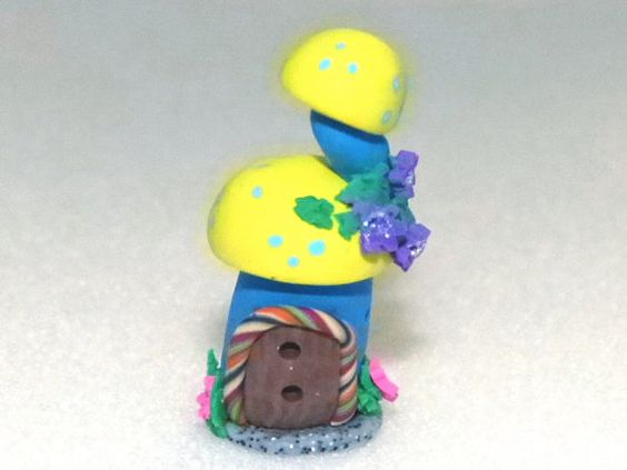 Whimsical Miniature Hand sculpted terrarium by mackenziemini (Home & Living, Outdoor & Gardening, Plants, Terrariums, Miniature Fairy, mushroom house, dollhouse, room box, witches wizard, related magical, world of, fairies elves, terrarium miniature, garden scene, ooak, mushroom home, handmade)