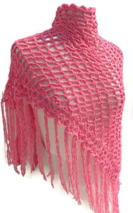 Handmade crochet pink cotton shawl, Peruvian pima cotton, boho chic st – Andrea Designs
